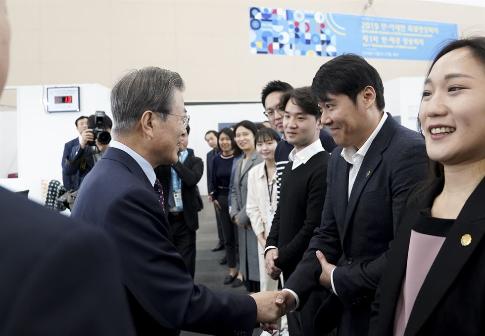President Moon Jae-in speaks during a Cabinet meeting at the Busan Exhibition and Convention Center, Tuesday. Yonhap