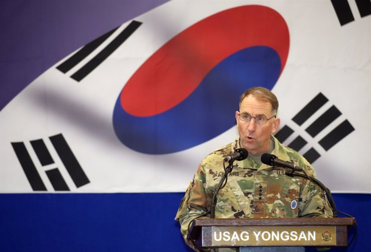 Gen. Robert Abrams, commander of the U.S.-South Korea Combined Forces Command (CFC), the United States Forces Korea (USFK) and the United Nations Command (UNC), delivers a commemorative speech during a ceremony celebrating the 41st anniversary of the CFC, Nov. 7, at the U.S. Army Garrison Yongsan in Seoul. Yonhap