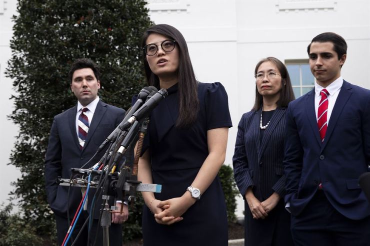 Grace Jo, center, who was born in North Korea, joins other participants following a meeting with US President Donald J. Trump (not pictured) in delivering remarks to members of the news media regarding their opposition to communism, outside the West Wing of the White House in Washington, DC, USA, Nov. 7, 2019. Also in this picture is Executive Director of the Victims of Communism Memorial Foundation Marion Smith (L); Nguyen Ngoc Nhu Quynh (2-R), who is originally from Vietnam; and Daniel Di Martino (R), who grew up in Venezuela. EPA-Yonhap