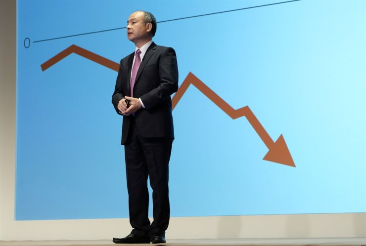 Japan's SoftBank Group CEO Masayoshi Son speaks during a press briefing on the company's financial results in Tokyo on November 6, 2019. AFP