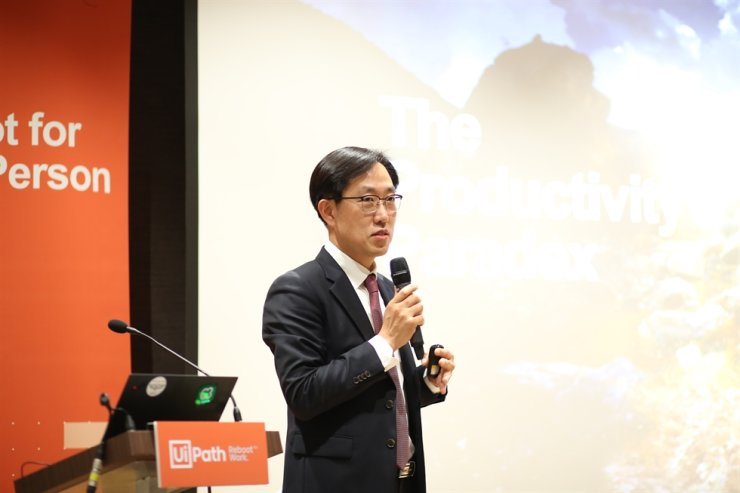 Baek Seung-heon, customer success director at UiPath Korea, speaks during a press conference at COEX in Seoul, Thursday. / Courtesy of UiPath Korea