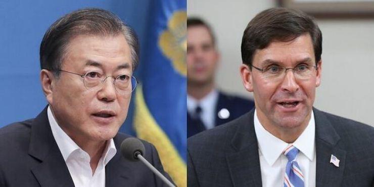 President Moon Jae-in and U.S. Defense Secretary Mark Esper