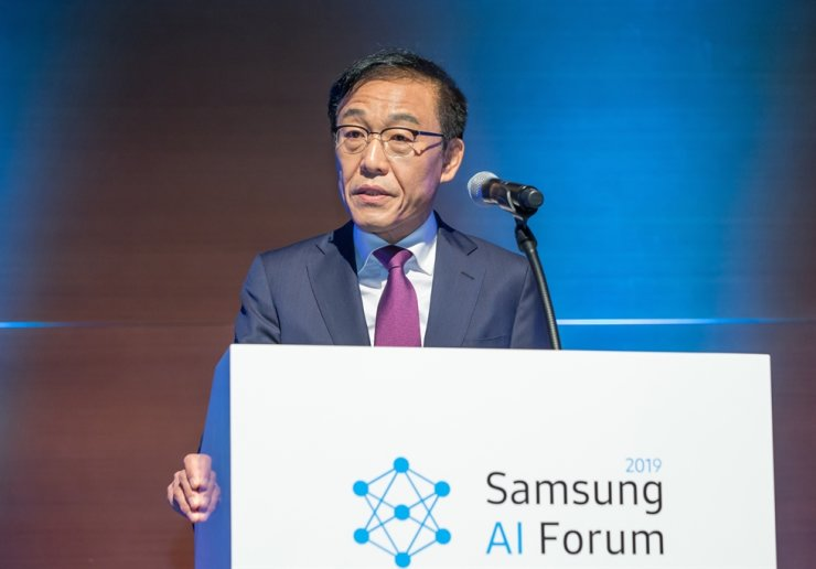 Kim Ki-nam, vice chairman of Samsung Electronics, delivers a key note speech during the 2019 Samsung AI Forum at Samsung's Seocho office in Seoul, Monday. / Courtesy of Samsung Electronics