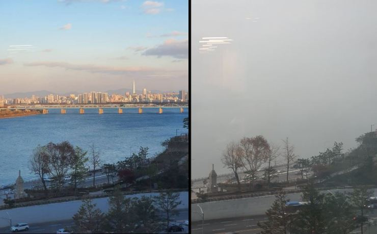 The photo at right shows how serious the air pollution covering the Korean Peninsula is. The left photo was taken on a fine day in Seoul and the right on Wednesday. Ultrafine dust concentrations surged to 'very bad' levels in the Seoul metropolitan area Wednesday, due largely to a steady flow of Chinese smog into the stagnant air over the peninsula. Courtesy of Kim Joon-hee