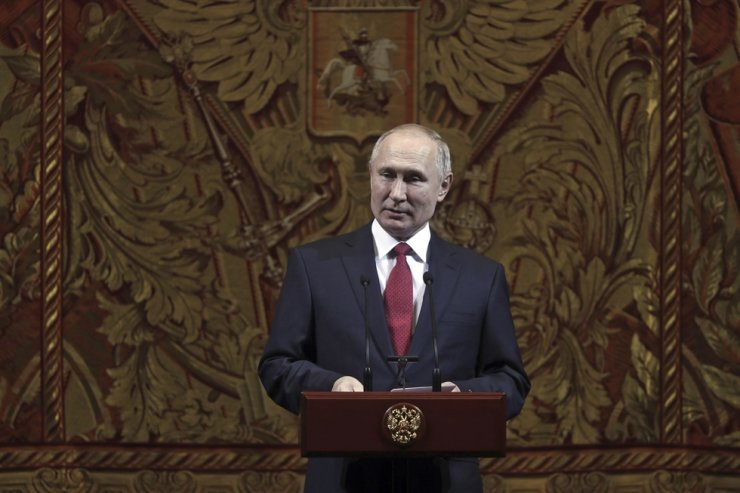 Russian President Vladimir Putin delivers his speech at a gala on the occasion of the New Year at the Bolshoi Theater in Moscow, Russia, Thursday, Dec. 26, 2019. AP