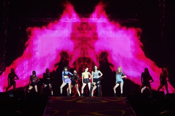 This photo, provided by YG Entertainment Thursday, shows K-pop girl band BLACKPINK performing at Tokyo Dome in Tokyo. /Yonhap