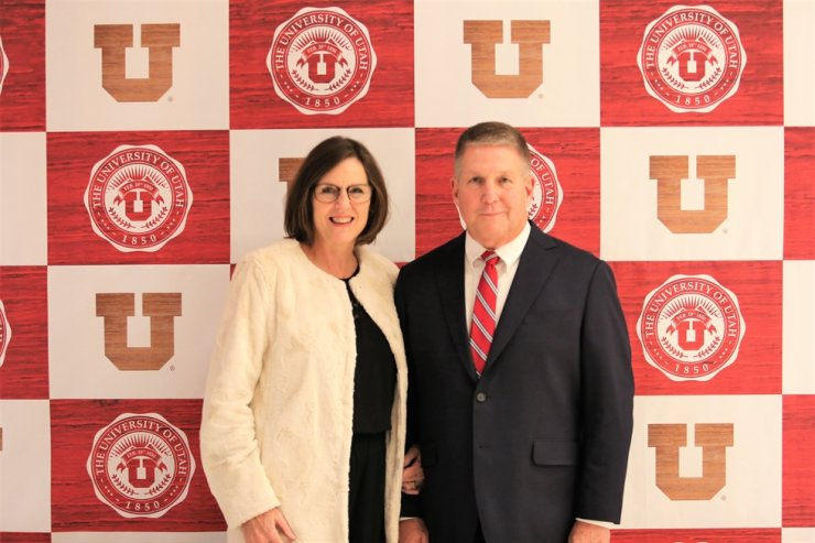 Todd Kent, former chief administrative officer and dean of faculty at the University of Utah Asia Campus poses with his wife Brenda Kent at the university campus in Songdo, Incheon. /Courtesy of University of Utah Asia Campus