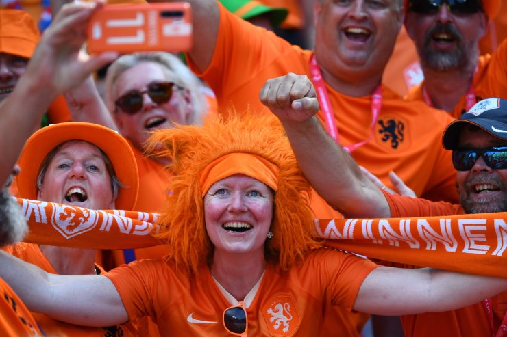 Netherlands fans cheer prior to the France 2019 Women's World Cup football final match between USA and the Netherlands, on July 7, 2019, at the Lyon Stadium in Lyon, central-eastern France. AFP