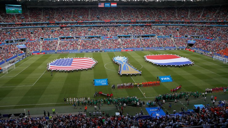 General view before the Women's World Cup final soccer match between US and The Netherlands at the Stade de Lyon in Decines, outside Lyon, France, Sunday, July 7, 2019. AP