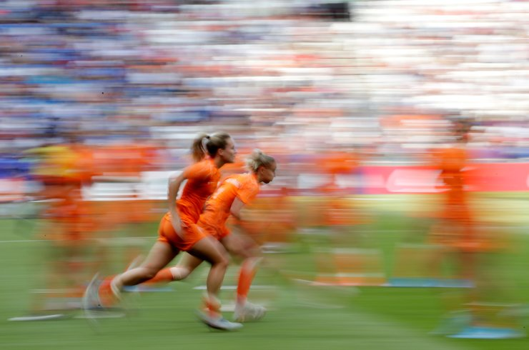 Netherlands' players run to warm up prior the Women's World Cup final soccer match between US and The Netherlands at the Stade de Lyon in Decines, outside Lyon, France, Sunday, July 7, 2019. AP