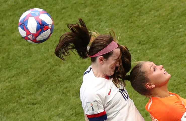 <span>United States' Rose Lavelle, left, challenges Netherlands' Like Martens, right, during the Women's World Cup final soccer match between US and The Netherlands at the Stade de Lyon in Decines, outside Lyon, France, Sunday, July 7, 2019. Reuters</span><br /><br />
