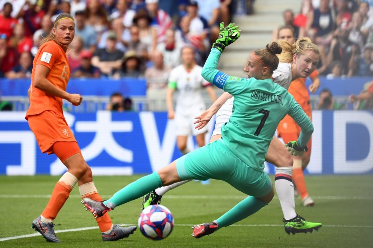 Netherlands' goalkeeper Sari van Veenendaal guards her goal during the France 2019 Women's World Cup football final match between USA and the Netherlands, on July 7, 2019, at the Lyon Stadium in Lyon, central-eastern France. AFP