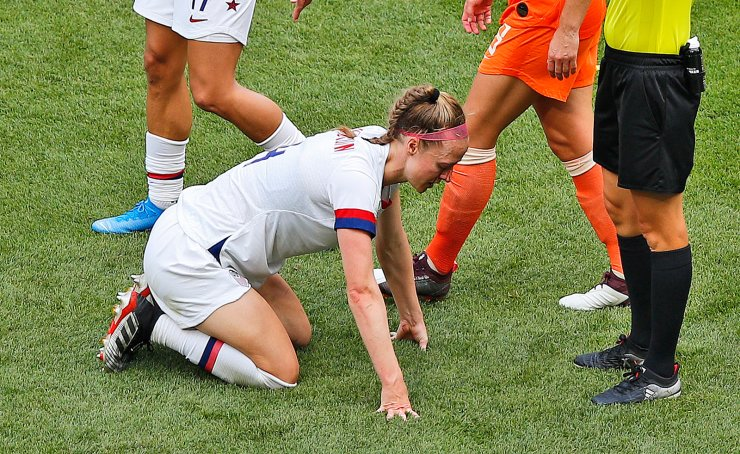United States' Becky Sauerbrunn waits for medical treatment after being injured during the Women's World Cup final soccer match between US and The Netherlands at the Stade de Lyon in Decines, outside Lyon, France, Sunday, July 7, 2019. AP