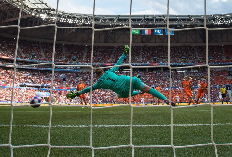 Goalkeeper Van Veenendaal of the Netherlands fails to block the shot from Rose Lavelle of the United States during the final match between the United States and the Netherlands at the 2019 FIFA Women's World Cup at Stade de Lyon in Lyon, France, July 7, 2019. Xinhua