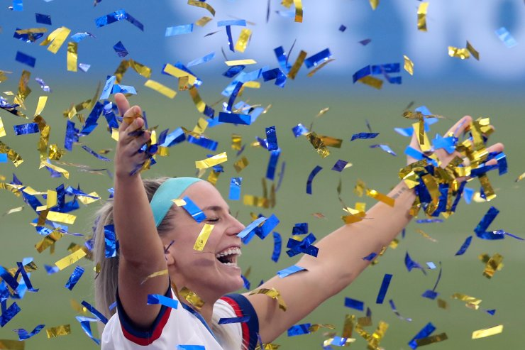 Julie Ertz of the United States celebrates during the awarding ceremony of the 2019 FIFA Women's World Cup at Stade de Lyon in Lyon, France, July 7, 2019. Xinhua