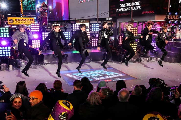 BTS performs during New Year's Eve celebrations in Times Square in the Manhattan borough of New York, U.S., December 31, 2019. /REUTERS