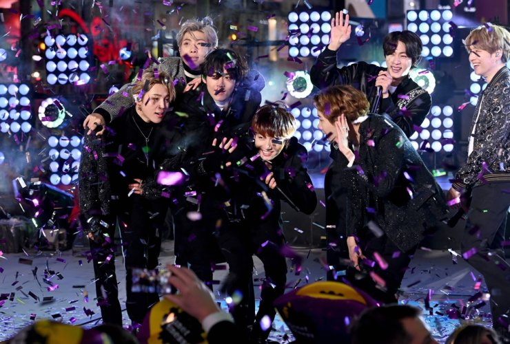 BTS performs during the Times Square New Year's Eve 2020 Celebration on December 31, 2019 in New York City. /AFP