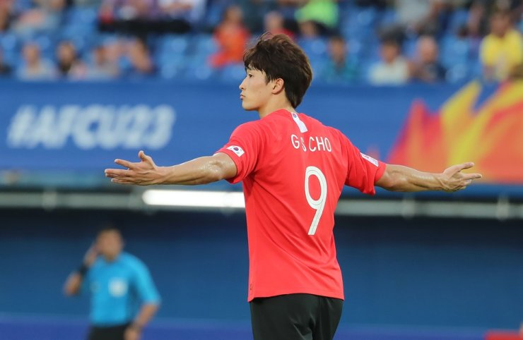 South Korean striker Cho Gue-sung celebrates after scoring the winning goal in the 55th minute of a 2020 Asian Under-23 Championship group stage match against Iran at the Tinsulanon Stadium in Songkhla, Thailand, Sunday. / Yonhap