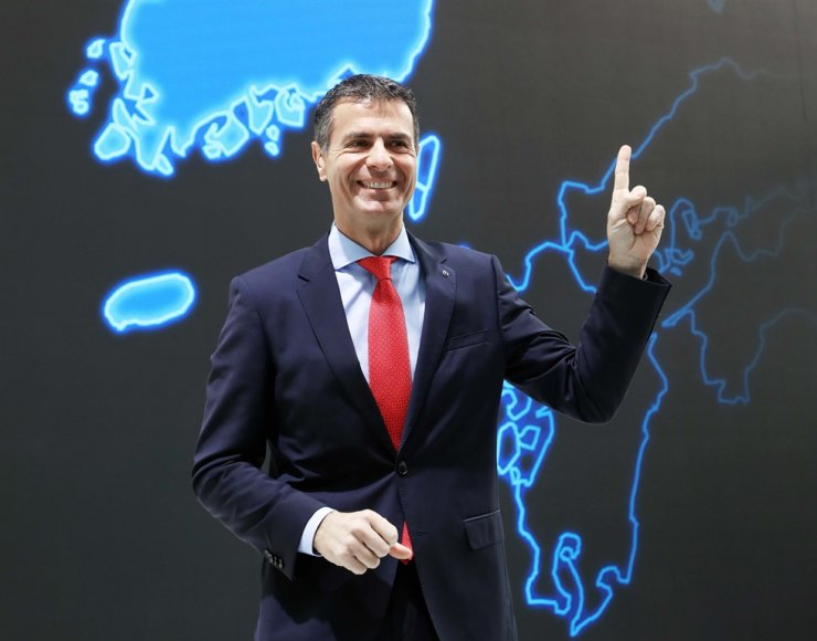 Mercedes-Benz Korea CEO Dimitris Psillakis speaks during the company's New Year press conference at the EQ Future Pavilion in Sinsa-dong, Seoul, Tuesday. Psillakis said Mercedes will introduce nine full-change and six facelift vehicles in Korea this year. Courtesy of Mercedes-Benz Korea
