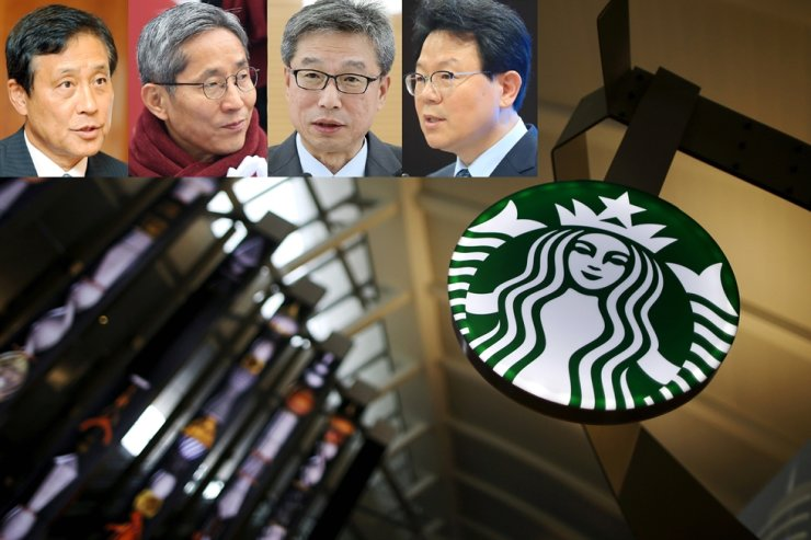 A Starbucks logo is seen in this file photo. From top left are Hana Financial Group Chairman Kim Jung-tai, KB Financial Group Chairman Yoon Jong-kyoo, KB Kookmin Bank CEO Hur Yin and NongHyup Financial Group Chairman Kim Gwang-soo. / Korea Times file