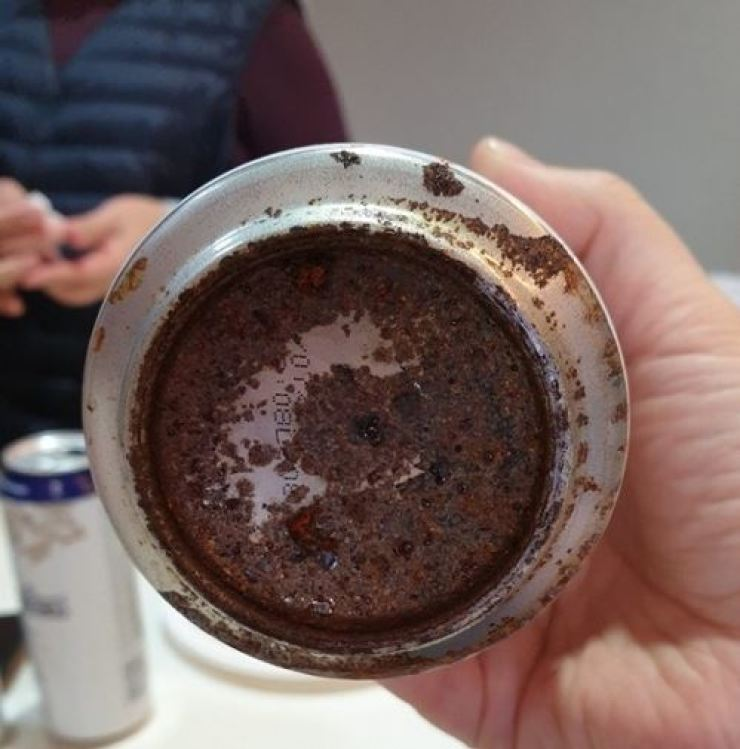 This photo of a rusty Hoegaarden beer can was taken by a customer who purchased the product. Yonhap