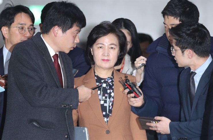 Justice Minister Choo Mi-ae heads to a Legislation and Judiciary Committee meeting at the National Assembly, Thursday. Yonhap