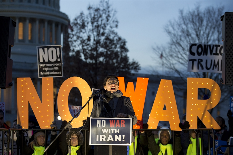 Protesters demonstrate against President Donald Trump and war with Iran, on Capitol Hill in Washington, D.C. on Wednesday. UPI-Yonhap