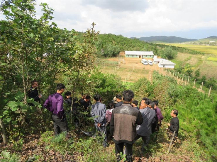 North Koreans check a model afforestation site at a mountain in Sangso-ri village in Taedong County, South Pyongan Province, which was previously almost completely deforested. Seliger invites foresters and other experts to North Korea to train locals how to make up forests. Courtesy of Hanns Seidel Foundation Korea Office