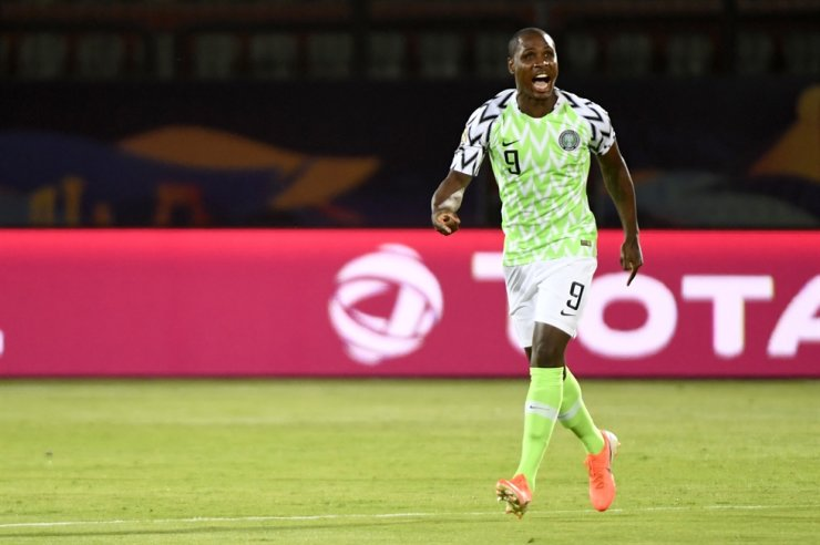 Nigeria's forward Odion Ighalo celebrates after scoring a goal during the 2019 Africa Cup of Nations third place play-off football match between Tunisia and Nigeria at the Al Salam stadium in Cairo on July 17, 2019. Odion Ighalo, who recently signed with Manchester United from China, has been training away from the club's facilities as a precaution due to the outbreak of the new coronavirus outbreak. / AFP-Yonhap