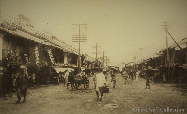 Nagatedori Street in Fusan, circa 1900s.  Robert Neff Collection