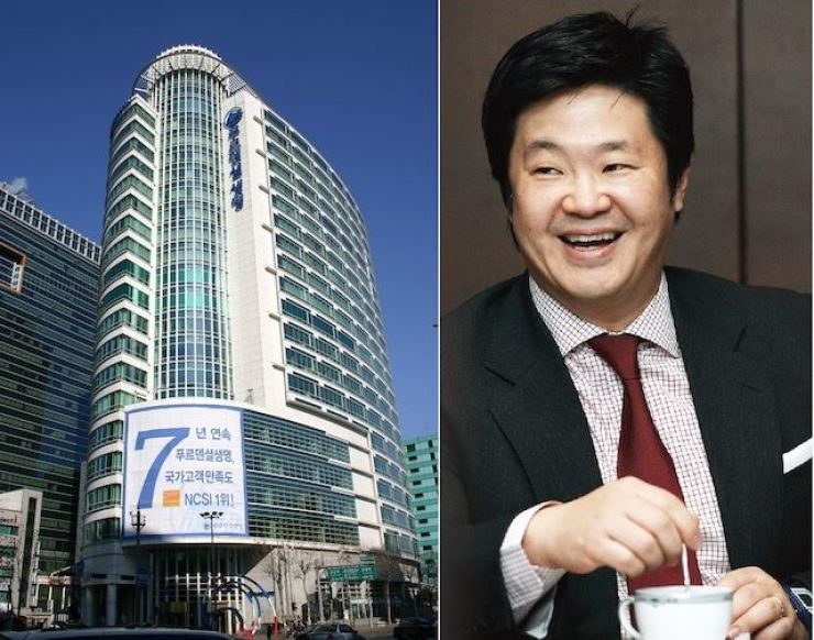 The headquarters of Prudential Life Insurance Company of Korea in Seoul; and MBK Partners Chairman Kim Byung-ju / Korea Times file