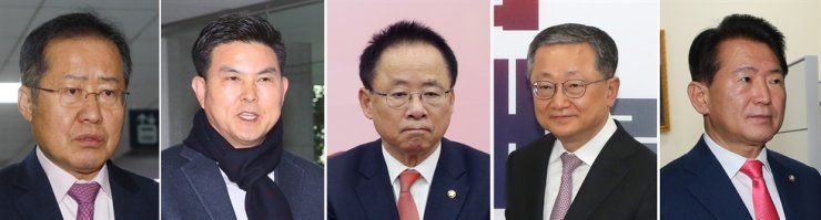 The main opposition United Future Party has eliminated several heavyweights from the candidate list for the April 15 general election. From left are former party leader Hong Joon-pyo, former South Gyeongsang Province Governor Kim Tae-ho, former National Assembly deputy speaker Lee Ju-young, four-term lawmaker Kim Jae-kyung, and the party's vice floor leader Kim Han-pyo. / Yonhap