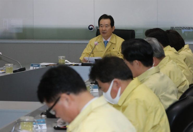 Prime Minister Chung Sye-kyun speaks during a pan-government meeting on coronavirus responses at the Government Complex in Seoul, Wednesday. Yonhap