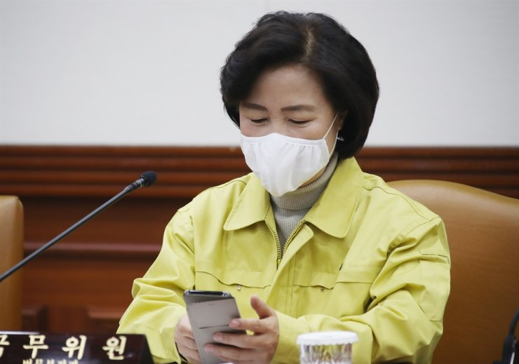 Justice Minister Choo Mi-ae attends a cabinet meeting in Seoul, Thursday. She ordered the prosecution to issue a search warrant for the Shincheonji Church of Jesus. / Yonhap