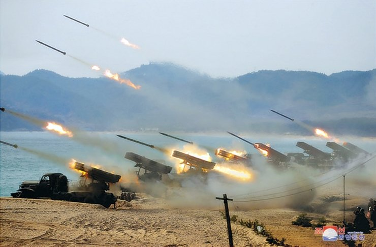 An artillery competition was held on a beach on the eastern coast of North Korea, Thursday, according to the Korean Central News Agency, Friday. North Korean leader Kim Jong-un 'guided' the event. Yonhap