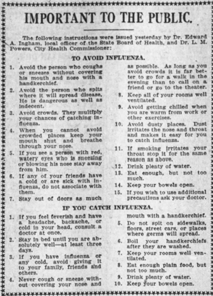 Spanish flu advisory co-written by Los Angeles Health Commissioner Luther Powers that appeared in Los Angeles Times and other local newspapers throughout October 1918. Tribune News Service