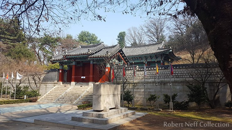 The entrance to Chungjangsa Temple at Haengju Fortress dedicated to General Kwon Yul. Robert Neff Collection, March 2020.