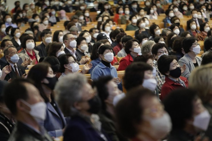Christians wearing face masks attend a service at the Yoido Full Gospel Church in Seoul, Sunday, May 10, 2020. In a speech on the same day, President Moon Jae-in urged all citizens to 'go back to normal' while staying cautious about the risks of coronavirus infections. AP