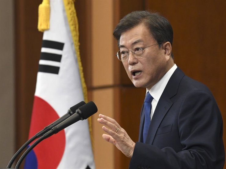 President Moon Jae-in speaks on the occasion of the third anniversary of inauguration at the presidential Blue House Sunday, May 10, 2020 in Seoul, South Korea. (Kim Min-Hee/Pool Photo via AP)