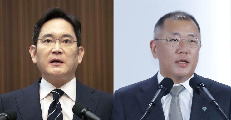 Samsung Electronics Vice Chairman Lee Jae-yong, left, and Hyundai Motor Group Executive Vice Chairman Chung Euisun