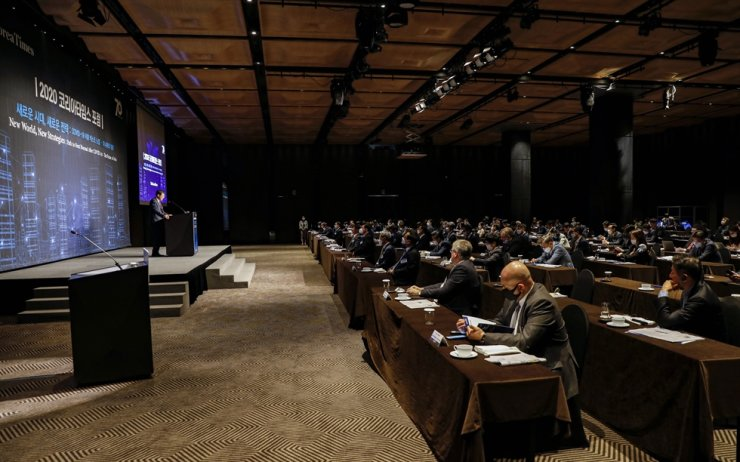 Finance and business leaders attend the 2020 Korea Times Forum held at The Plaza Seoul Grand Ballroom in central Seoul, Thursday. / Korea Times photo by Shim Hyun-chul