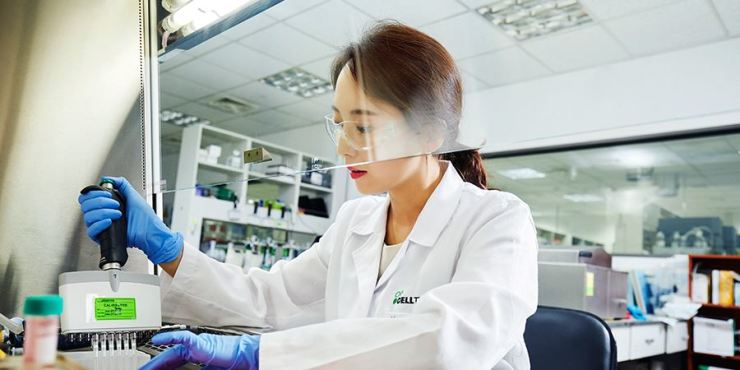 A lab technician at Celltrion tests drug candidates in this file undated file photo released by the company. Courtesy of Celltrion