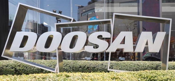 Doosan Group logo displayed at its head office in Dongdaemun, Seoul / Yonhap