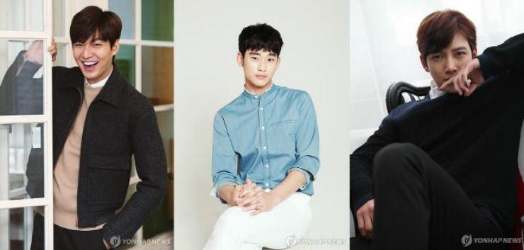 From left, Lee Min-ho, Kim Soo-hyun and Ji Chang-wook / Yonhap