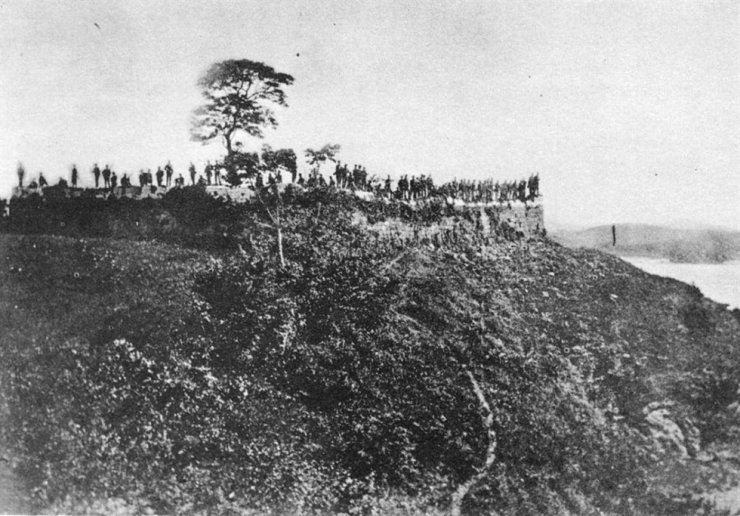 United States Marines on the walls of Deokjin fort, Ganghwa Island, June 1871. / Courtesy of RAS Korea