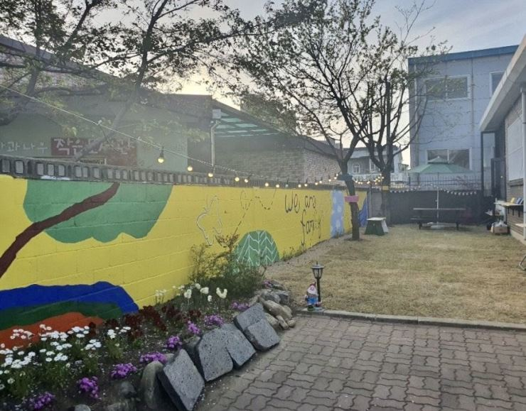 The Chungju Teenage Girls' Shelter is seen in April after the completion of a mural project. / Courtesy of Gayeon Ji
