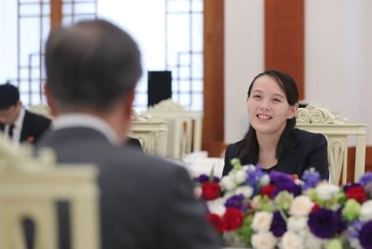 North Korean leader's powerful sister Kim Yo-jong is seated across from President Moon Jae-in during a lunch at Cheong Wa Dae on Feb. 11, 2018. Yonhap