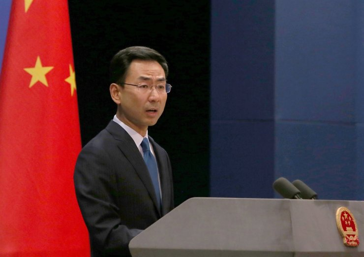China's Foreign Ministry spokesman Geng Shuang holds a press conference for both foreign and domestic journalists in Beijing on May 14, 2019. UPI