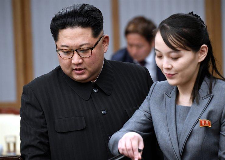 North Korean leader Kim Jong-un and his sister Kim Yo-jong / Korea Times file