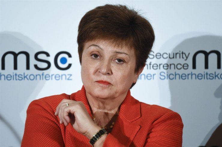 In this Feb. 14, 2020, file photo, Kristalina Georgieva, Managing Director of the International Monetary Fund, attends a session on the first day of the Munich Security Conference in Munich, Germany. AP